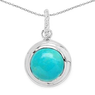 Olivia Leone .925 Sterling Silver 8 1/10ct TGW Genuine Turquoise Pendant