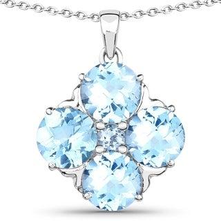 Malaika .925 Sterling Silver 9 4/5ct TGW Genuine Blue Topaz Pendant