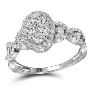 10k Gold 1 1/10ct TDW Diamond Oval Setting Engagement Ring (H-I, I1-I2)