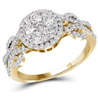 10k Gold 1 1/10ct TDW Round-cut Pave Diamond Engagement Ring (H-I, I1-I2)