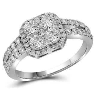 10k Gold 1 2/5ct TDW Round-cut Diamond Split Shank Engagement Ring (H-I, I1-I2)