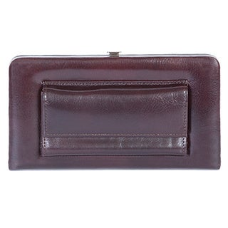 Dark Brown Leather Snap Opera Clutch