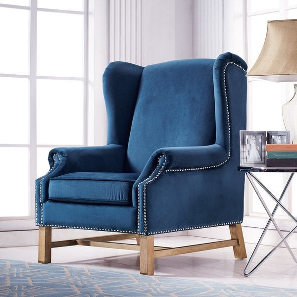 Nora Navy Velvet Wing Chair