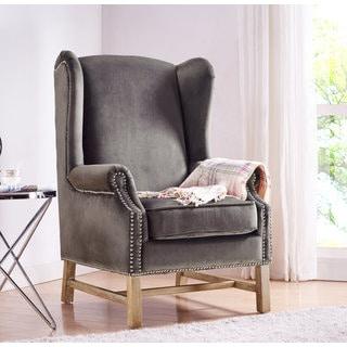 Nora Grey Velvet Wing Chair