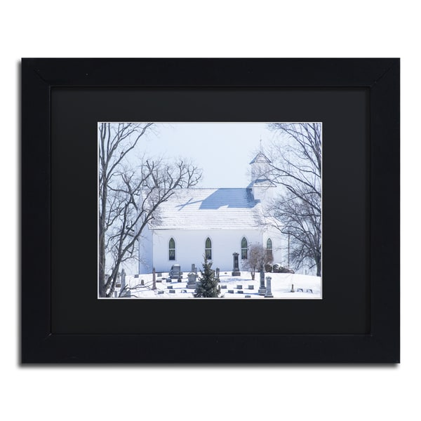 Kurt Shaffer 'A Rural Chapel' Black Matte, Black Framed Wall Art