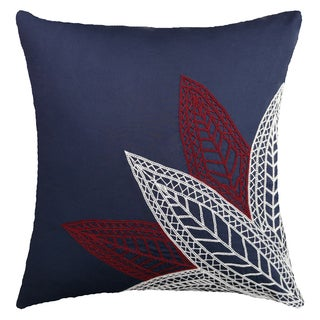 Leaf Embroidered Hand-crafted Spun by Welspun 16-inch Throw Pillow