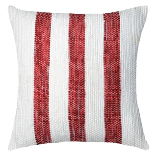 Red Striped Hand-crafted Spun by Welspun 16-inch Throw Pillow