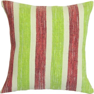 Lime Green, Red, White Hand-crafted Spun by Welspun 16-inch Throw Pillow