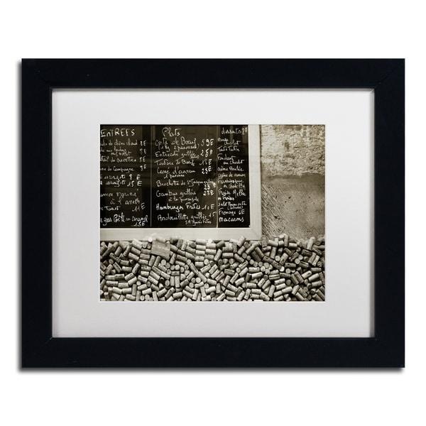 Preston 'Parisian le Sac a Dos' White Matte, Black Framed Wall Art