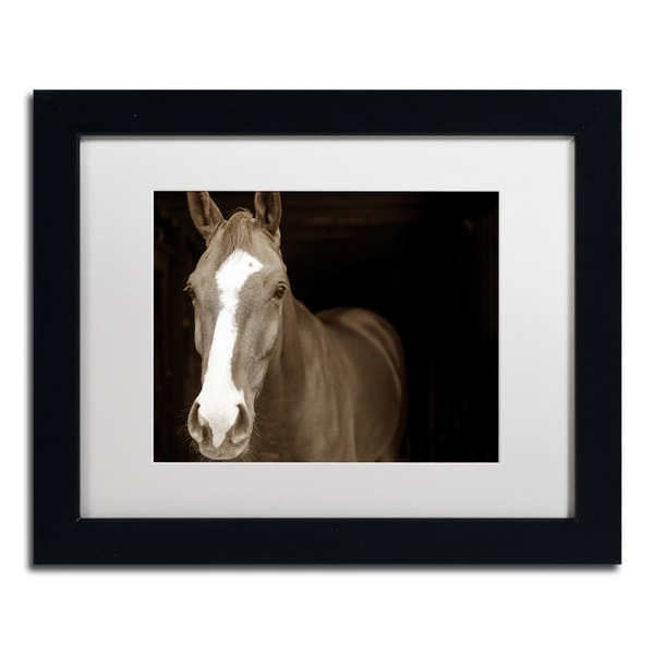 Preston 'Horse Portrait' White Matte, Black Framed Wall Art
