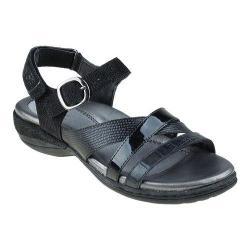 Women's Earth Aster Ankle Strap Sandal Black Crocodile Print Leather