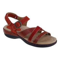 Women's Earth Aster Ankle Strap Sandal Red Crocodile Print Leather