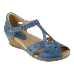 Women's Earth Rosemary T Strap Wedge Parisian Blue Soft Calf Leather