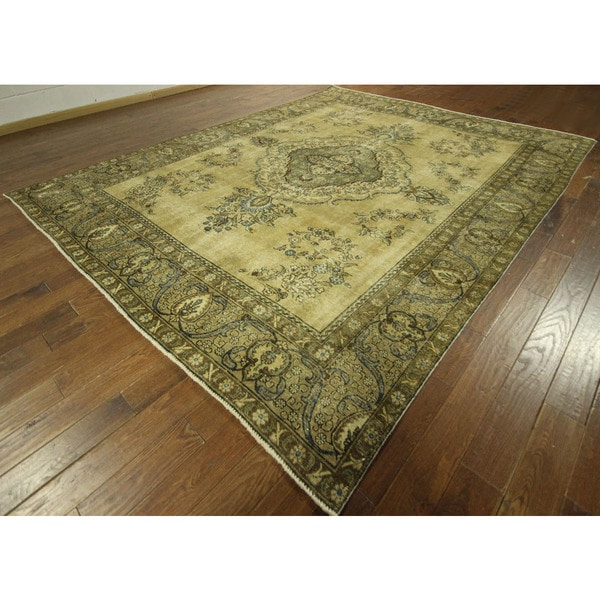 Elite Buff Brown Overdyed Floral Hand-knotted Wool Area Rug (10' x 12')