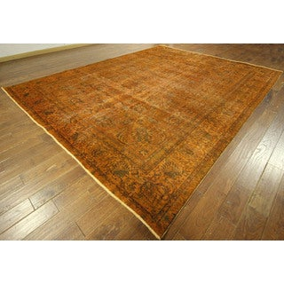 All-over Sunrise Orange Tabriz Overdyed Hand-knotted Wool Area Rug (10' x 12')