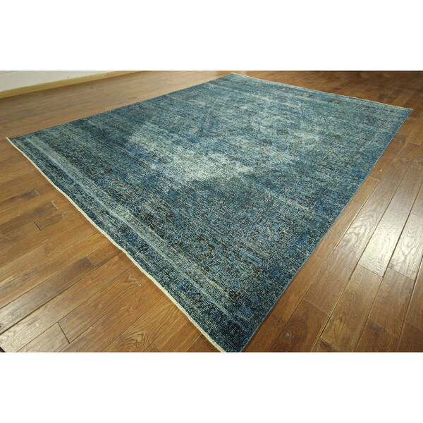 Tabriz Collection Jean Blue Overdyed Hand-knotted Wool Area Rug (10' x 13')