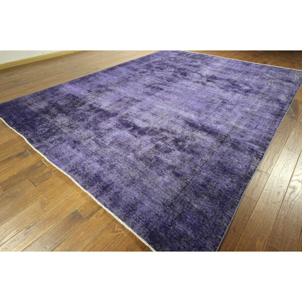 Tabriz Collection Purple Wash Overdyed Hand-knotted Wool Area Rug (10' x 12') 16134515