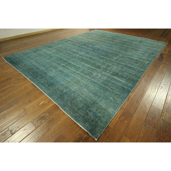New Blue-Green Overdyed Tabriz Oriental Hand-knotted Wool Area Rug (10' x 13') 16134532