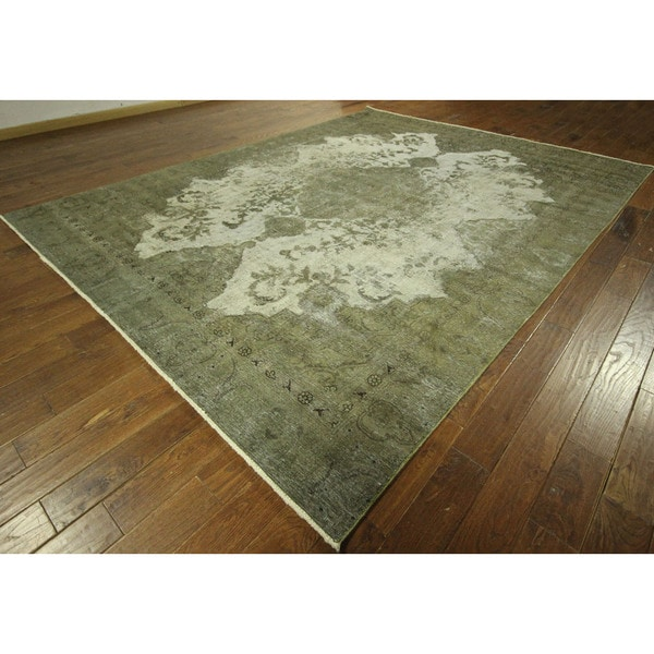 Tabriz Collection Virdian Green Overdyed Hand-knotted Wool Area Rug (9' x 12')