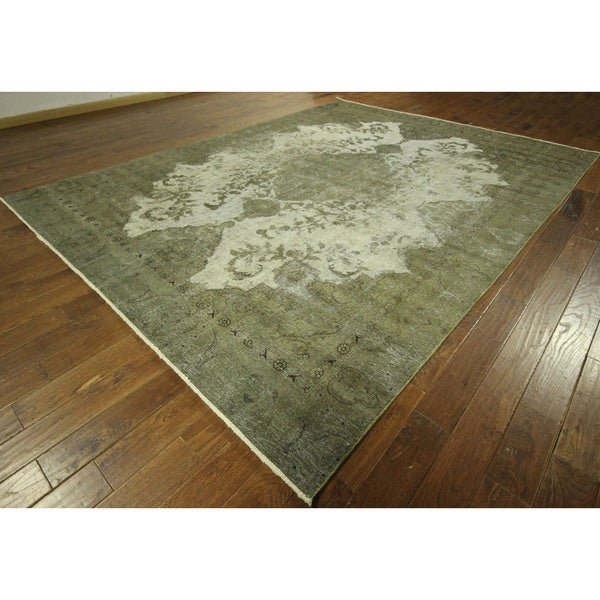 Tabriz Collection Virdian Green Overdyed Hand-knotted Wool Area Rug (9' x 12') 16134534