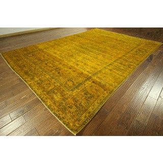 All Over Design Flame Orange Tabriz Hand-knotted Wool Area Rug (9' x 13')