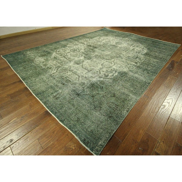 Overdyed Collection Virdian Green Tabriz Hand-knotted Wool Area Rug (9' x 12')