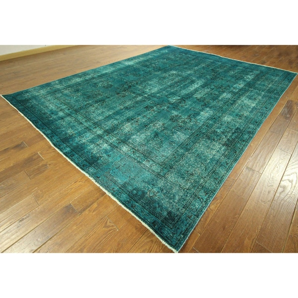 Tabriz Collection Oriental Sea Blue Overdyed Hand-knotted Wool Rug (9' x 12') 16134539