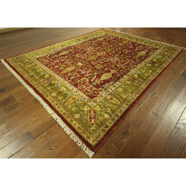 New Carmine Red Oushak Collection Hand-knotted Chobi Quality Wool Rug (8' x 10')