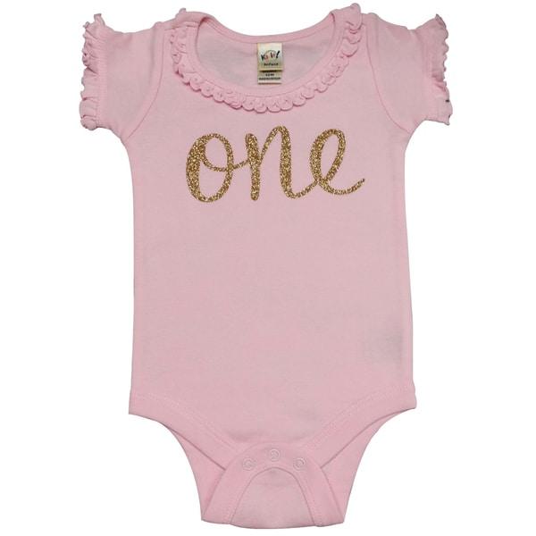 Baby Girls' First Birthday Embedded Glitter Pink Bodysuit