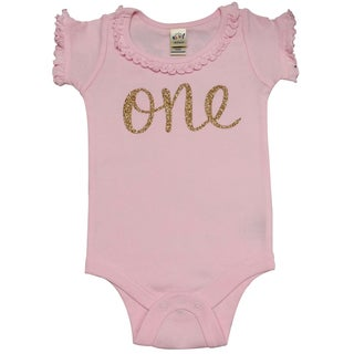 Baby Girls' First Birthday Embedded Glitter Pink Bodysuit