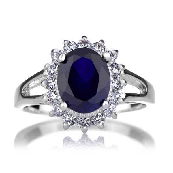 Brass Blue CZ Royal Style Engagement Ring