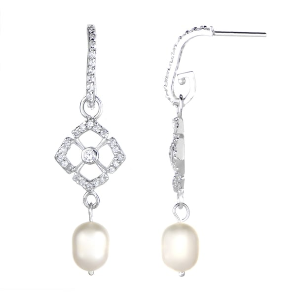 Pearl Drop Cubic Zirconia Earrings