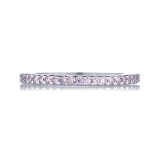 Sterling Silver Pink Cubic Zirconia Eternity Ring