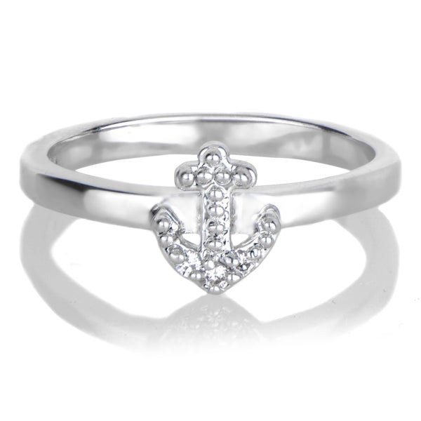 Brass Petite Anchor Charm Stackable Ring