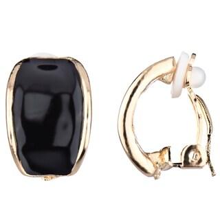 Black Half Hoop Clip On Earrings