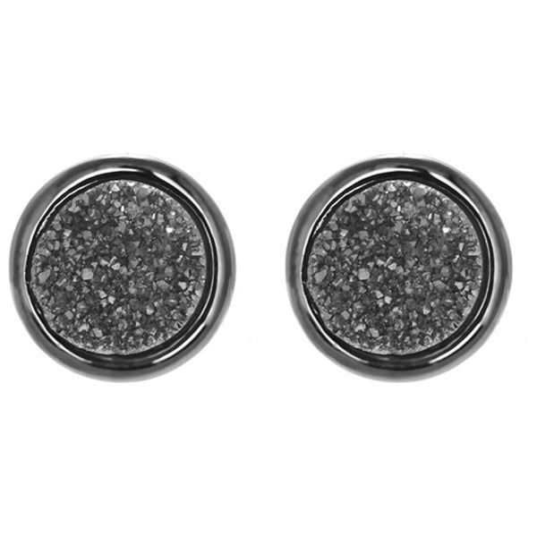 Gun Metal Dust Drusy Quartz Stud Earrings