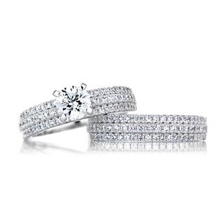 Sterling Silver Triple Row CZ Wedding Ring Set