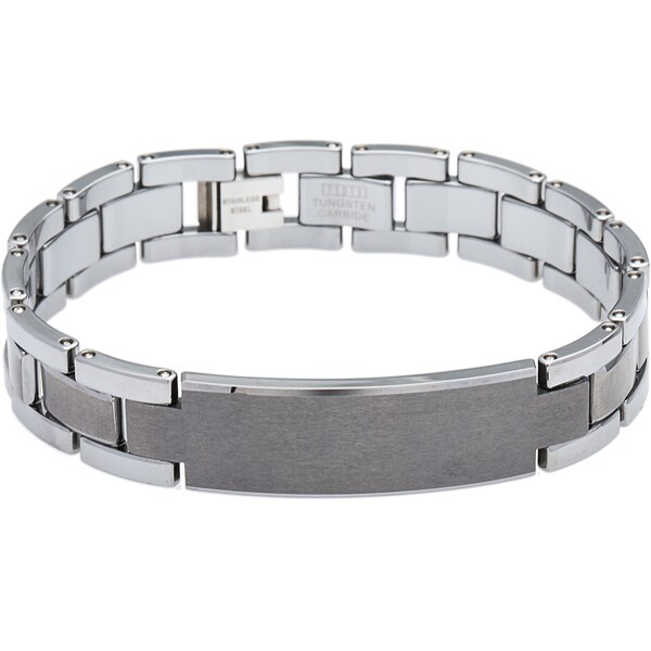 Men's Tungsten Gun Metal Bracelet with Large Middle Link