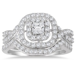 Marquee Jewels 10k White Gold 1ct TDW Diamond Double Halo Princess Bridal Ring Set (I-J, I1-I2)