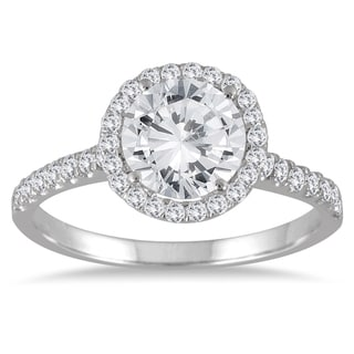 Marquee Jewels 14k White Gold 2ct TDW TDW Halo Diamond Engagement Ring (I-J, I2-I3)