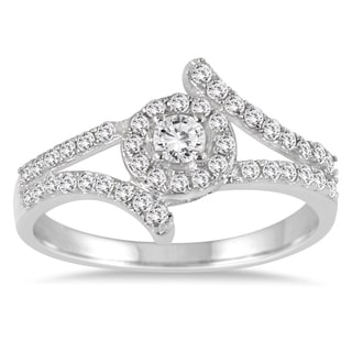 Marquee Jewels 10k White Gold 1/2ct TDW Diamond Split Shank Halo Engagement Ring (I-J, I2-I3)