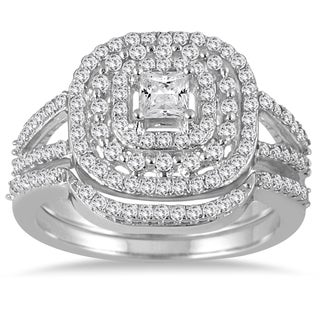 Marquee Jewels 10k White Gold 7/8ct TDW Diamond Triple Halo Princess Bridal Ring Set (I-J, I1-I2)