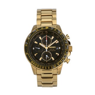 Seiko SSC008 Men's Solar Alarm Chronograph Tachymeter Gold Bracelet Watch
