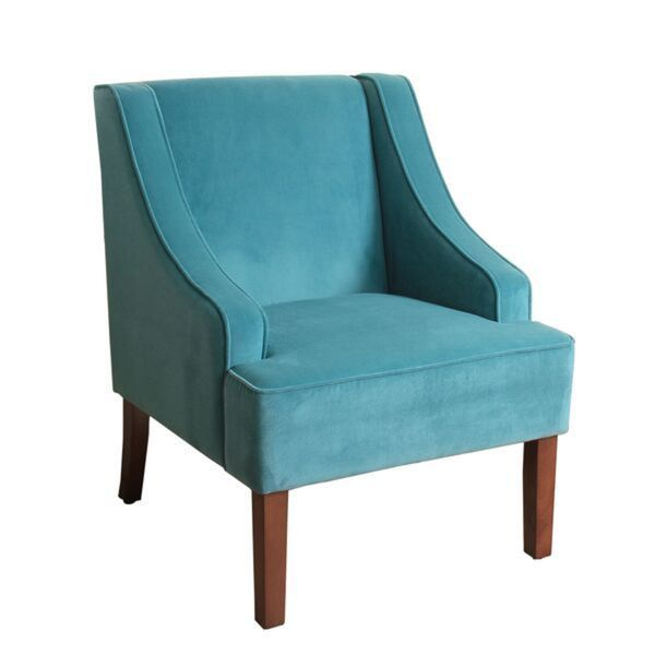 Homepop swoop arm accent chair in teal turquoise velvet 17587557