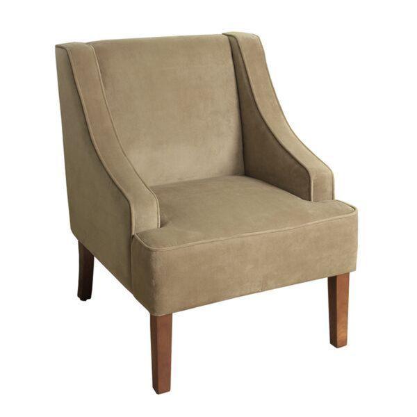 Homepop Swoop Arm Accent Chair In Tan Mocha Velvet