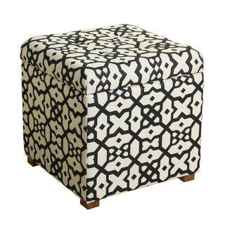 HomePop White and Black Lattice Storage Ottoman