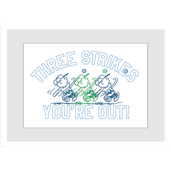 "Marmont Hill - ""Three Strikes"" Peanuts Framed Art Print"