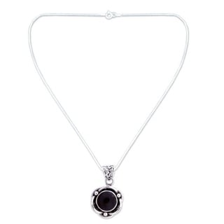 Sterling Silver 'Black Rose' Onyx Necklace (India)