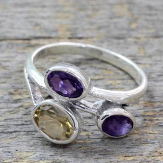 Sterling Silver 'Mystical Alliance' Amethyst Citrine Ring (India)