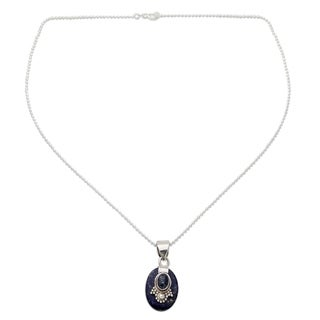 Sterling Silver 'Constellations' Lapis Lazuli Choker (India)